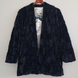 {Tiny Editions} Anthro Navy Marin Faux Fur Coat
